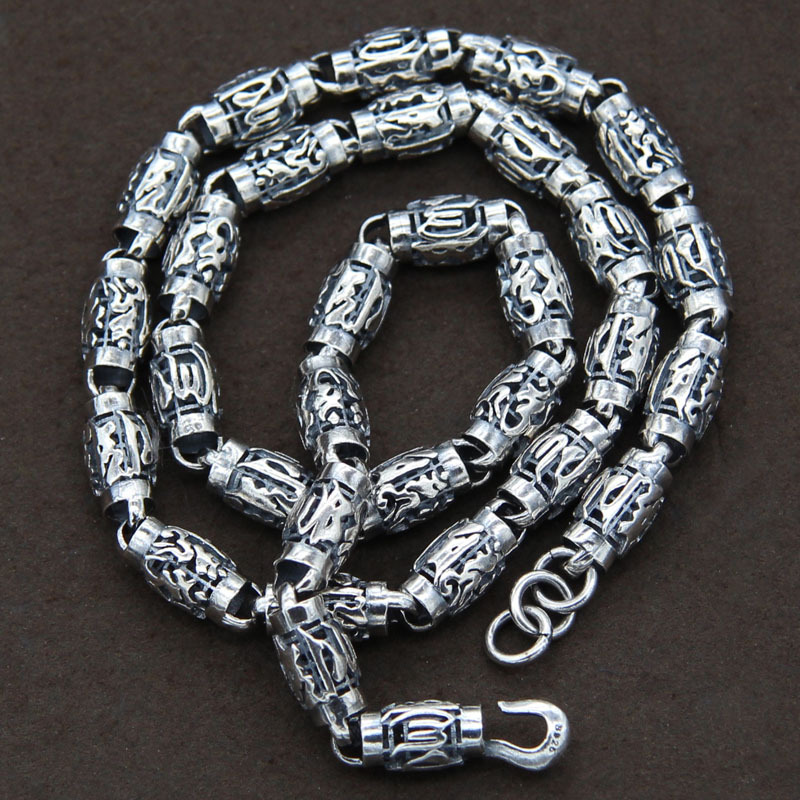Collier rétro en argent thaïlandais S925 en argent Sterling brut bambou Mantra collier hommes Punk offre spéciale mauvais esprits