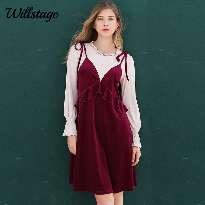 Willstage 5XL Plus size velvet Dress red Patchwork Ruffles Oversize Dresses  Women Puff sleeve bow Vestidos 25271788c822