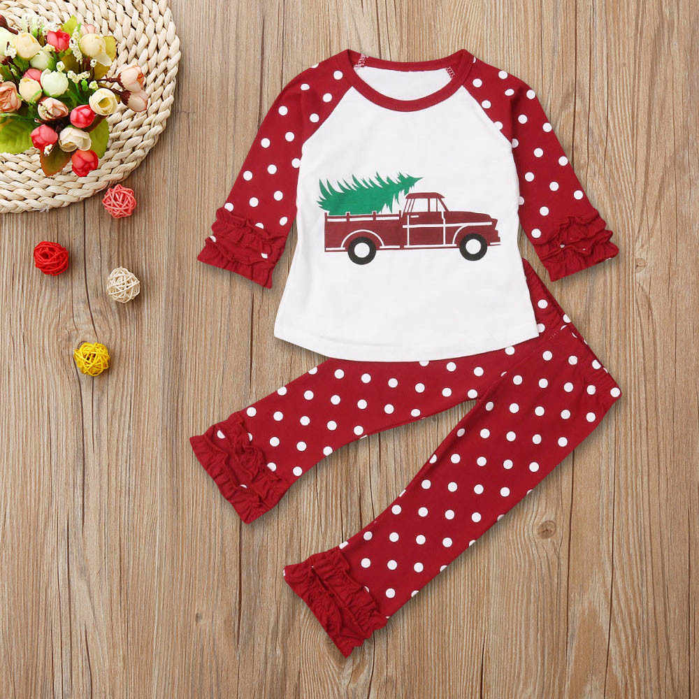 Christmas Kids Baby Girl T-Shirt Tops Ruffles Pants Clothes Outfits Xmas Set girls boutique outfits christmas outfits kids