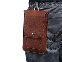 Double Pockets Leather Pouch Belt Phone Case Cover Bag For LEAGOO S8 DOOGEE BL12000 DOOGEE MIX