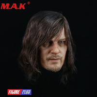 1/6 the walking dead Daryl Dixon head sculpt planted long hair headplay model for male man action figure for 12 body accessory