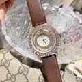 Роскошные женские часы со стразами  Новое поступление  брендовые часы с ремешком из натуральной кожи  прозрачные наручные часы с счастливым...