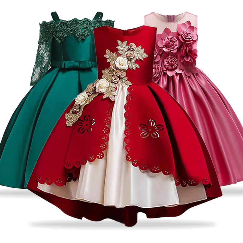 Kids Dresses For Girls Elegant Princess Dress Christmas Children Evening Party Dress Flower Girl Wedding Gown vestido infantil