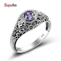 Store Small Rose Amethyst Ring Vintage Style Sailor Moon Genuine 925 Sterling Silver Jewelry Rings For