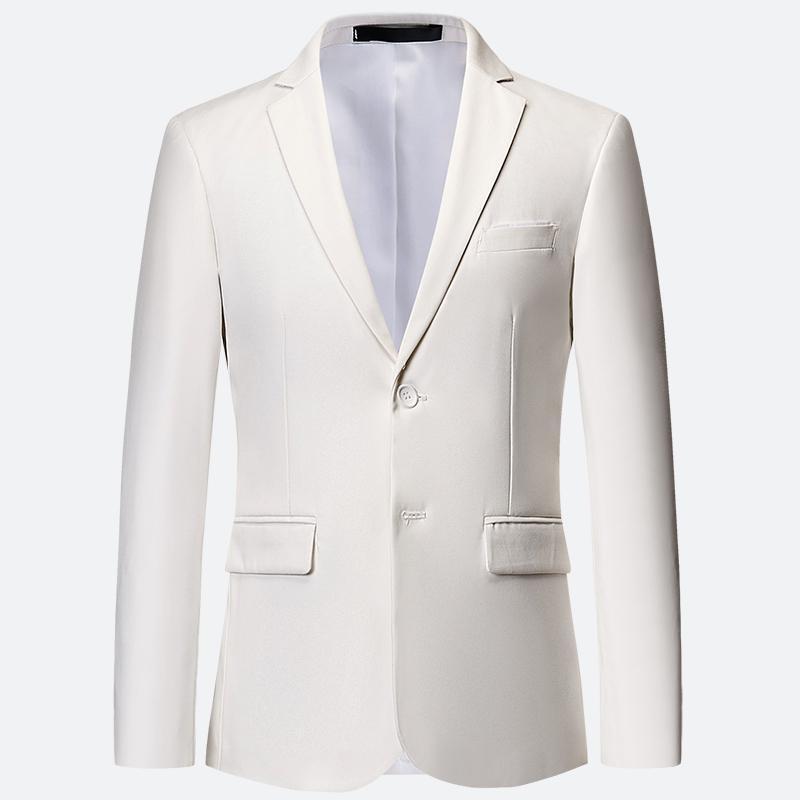 Plus Size 6XL 5XL Plain Color White Formal Jackets Two Bittons Long Sleeve Korean Mens Suit Jackets Office Wear Wedding Blazer