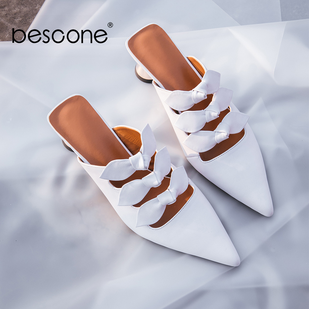 BESCONE Brand Sexy Women Shoes Top Quality Comfortable Genuine Leather Slingback Female Shoes Spike Heels Pointed