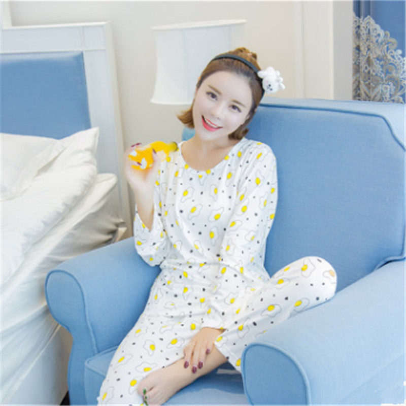 Bear Ms.  Autumn printing explosion  Spring  Long Sleeve Korea pajamas set  emulation cute  Cartoon Women's home