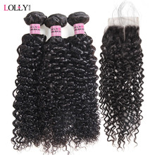 hot deal buy lolly curly hair bundles with closure non remy human hair 3 bundles with lace closure brazilian hair weave bundles with closure