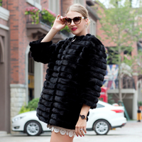 2018 autumn and winter hot sale mink coat women's natural striped black leather jacket mink fur coat fashion warm PDH 1021