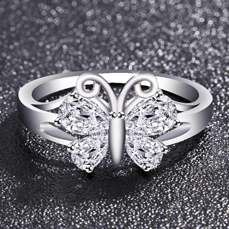 5 צבעים אופנה עלה זהב פרפר סגול זירקון טבעת עבור נשים פריחת דובדבן, שנהב לבן פרפר טבעות גודל 6-10
