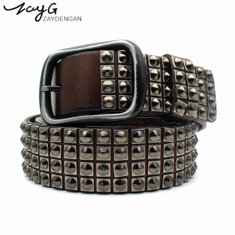 ZAYG Fashion Punk Personality High Quality  Pin Buckle Rivet Belt Hip Hop Men And Woman Black Brown Leather Tip Studded Belt