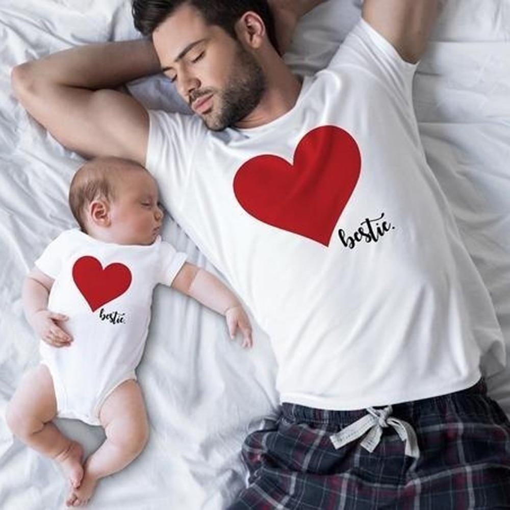 CALOFE famille correspondant vêtements coeur homme T shirt papa et tenues père fils papa bébé garçon enfants Look torridité frères