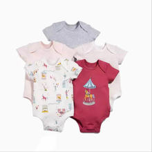 5PCS Cotton Baby Triangle Short Romper Casual Style Sleeveless Print Covered Button Baby Girls Triangle Short Romper D5002 girls sheep print ringer romper