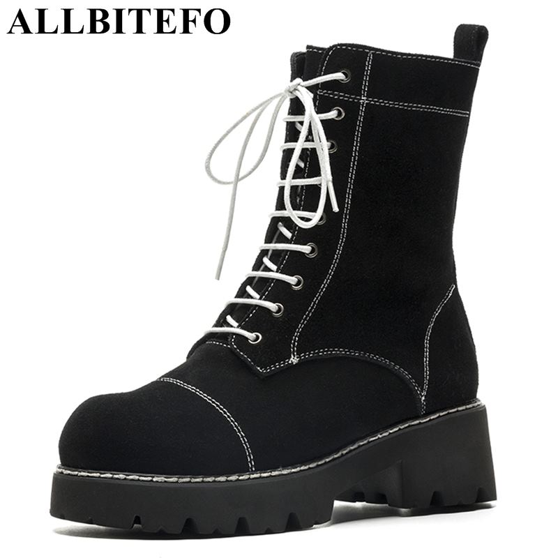 ALLBITEFO fashion brand Nubuck leather thick heel women boots new winter snow boots martin boots botas femininas girls shoes женские блузки и рубашки hi holiday roupas femininas blusa blusas femininas