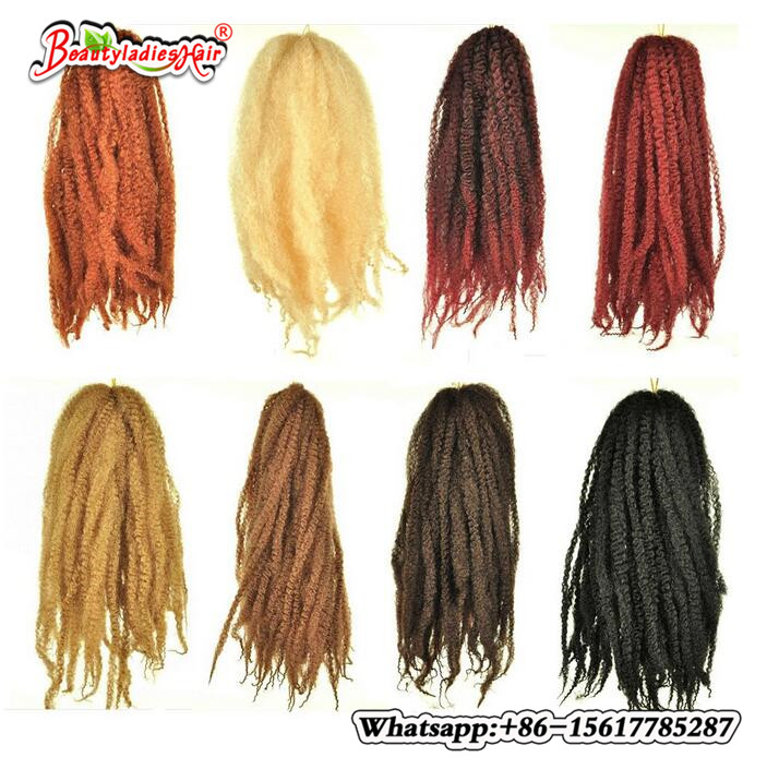 18 1packs/lot Afro Kinky Marley Braid Extensions Hair 100g 30Roots foled/pack Ombre low  ...