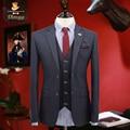 Новый бренд одежды бизнес формальной мужчины suts смокинг пальто/жилет/брюки slim fit мальчик пром костюмы жениха свадьба костюмы однобортный