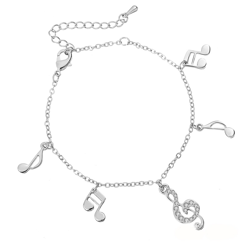 2018 New Cute Animal Owl Charms Anklets Women Beads Cz Zircon Music Note Ankle Bracelet Silver Color Female Beach Foot Jewelry In From