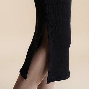 Image 4 - 2016 סתיו חורף נשים חצאית צמר צלעות לסרוג ארוך חצאית Faldas חבילה ירך פיצול חצאיות D919
