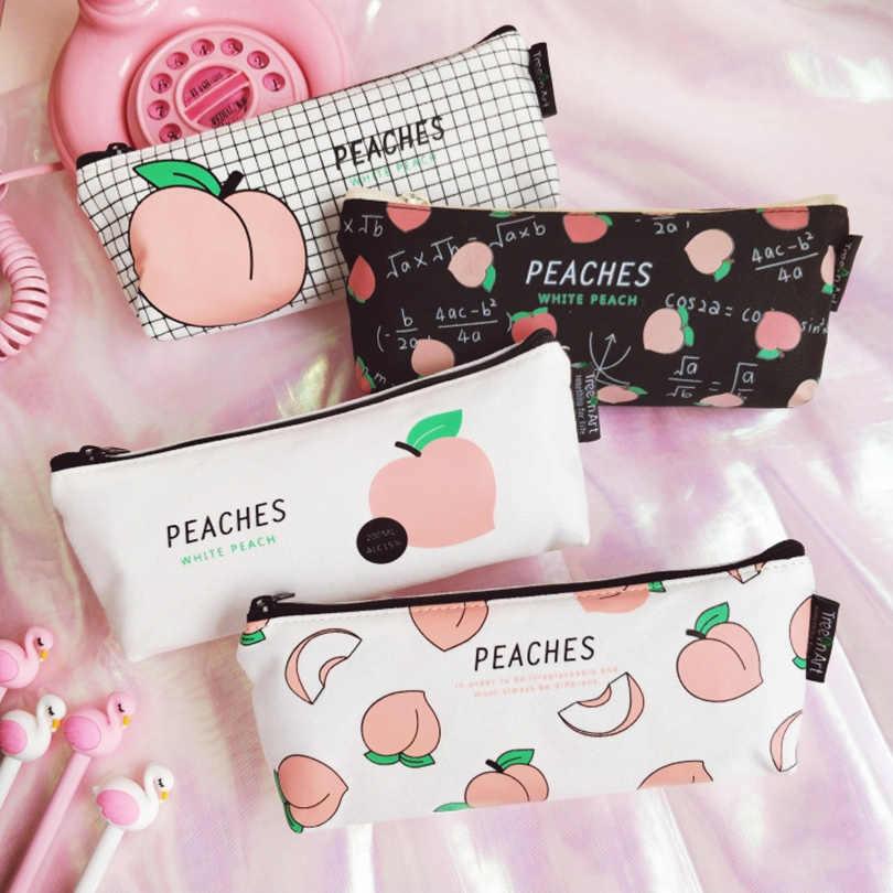 1Pc soczyste brzoskwinia szkolne piórnik Kawaii dla studentów szkoła kosmetyczka kobiety materiały biurowe Escolar płótnie
