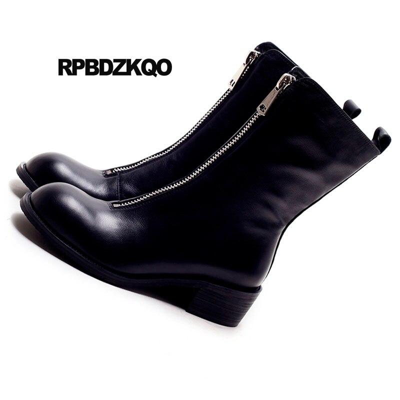 Main Bottes noir Fermeture Cuir Fourrure Faux D'hiver Chunky Court Rond Cheville La Chaussures Apricot En 2018 Véritable Colombie Bout Noir Femmes À Automne Glissière qIgArHwI