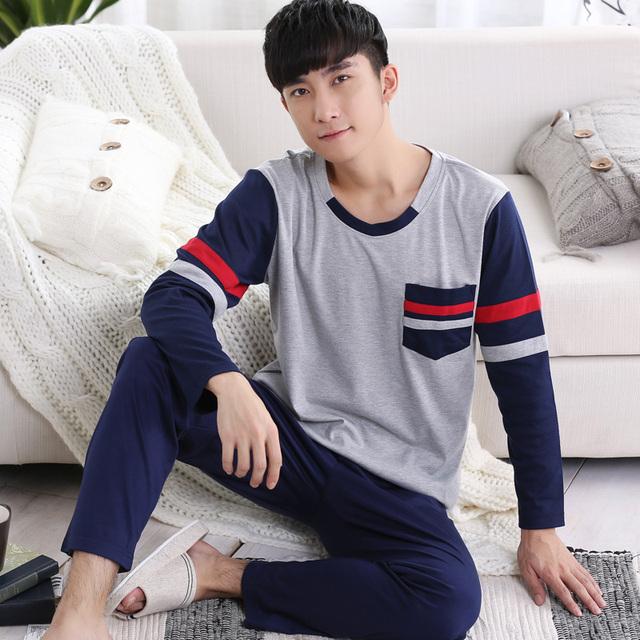 Otoño primavera de Manga Larga de Algodón Pijamas para Hombres Pijamas de Dormir y Descansar Masculino Suéter Ropa de Noche Casual En El Hogar ropa