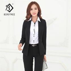 Новое поступление Для женщин сплошной черный комплект из 2 частей тонкий короткий пиджак длинные брюки элегантный Офисные женские туфли
