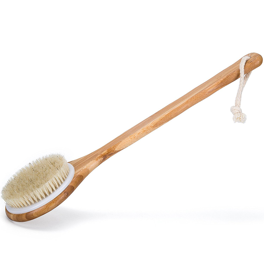 1pcs Long Wooden Handle Bath Body Brush Removable Bristle Exfoliating Dry Skin Back Scrubber Shower Cleaning Massager