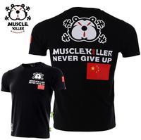 Muscle killer patriotic T new flag sport short sleeve men popular logo slim summer training fitness T shirt