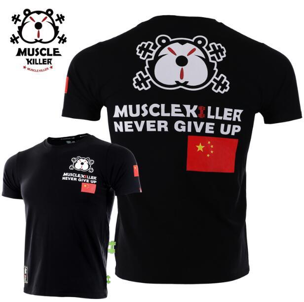 Muscle Killer Patriotic T New Flag Sport Short Sleeve Men Popular Logo Slim Summer Training Fitness T-shirt