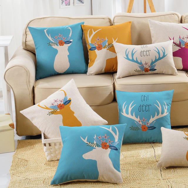 Decorative nordic style colorful deer pillow case cushion covers animals cojines cotton linen for sofa home car decor 45x45cm