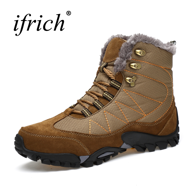 2017 New Arrival Winter Mens Hiking Boots Trekking Sneaker With Fur Warm Mountain Boots Black Brown Hunting Shoes Men waterproof men outdoor hiking boots autumn winter hunting boots mountain climbing men trekking shoes warm fur snow boots male