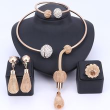 Женский комплект ювелирных украшений с кристаллами золотого