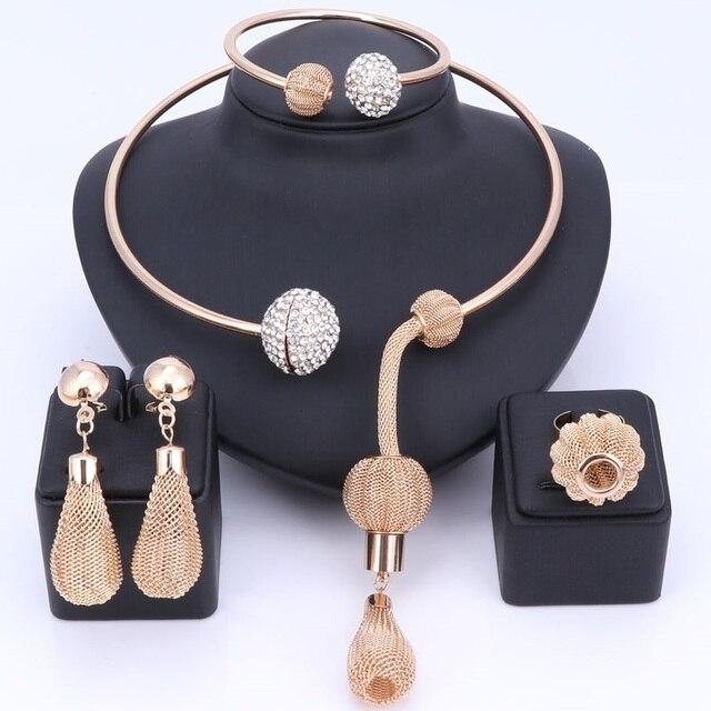 קסם אפריקאי ערכות תכשיטי קריסטל צבע זהב דובאי לנשים טבעות שרשרת תליון עגילי צמיד אביזרי שמלת מפלגה
