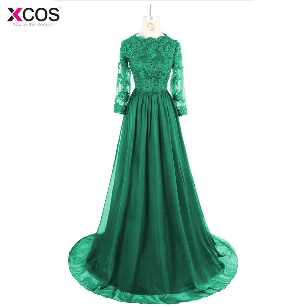 Mint Green Muslim Evening Dress Long Sleeve Beaded Islamic Dubai ...