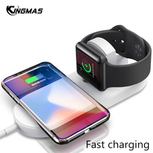 2 In 1 Mini air power Qi Desk Wireless Fast Charging For Apple iWatch 3 iPhone X XS Max XR 8 Plus Quick Charger Pad