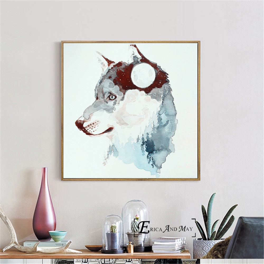 Splatter Wolf Silhouette Posters and Prints Wall art Decorative Picture Canvas Painting For Living Room Home Decor Unframed in Painting Calligraphy from Home Garden