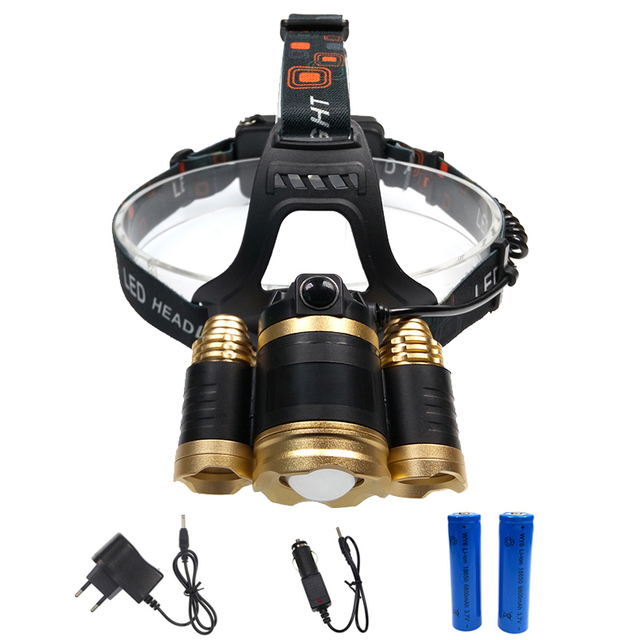 8000LM 3x XML T6 headlamp zoomable rechargeable LED headlight head lamp flashlight torch linterna+2x18650 battery+AC/car charger