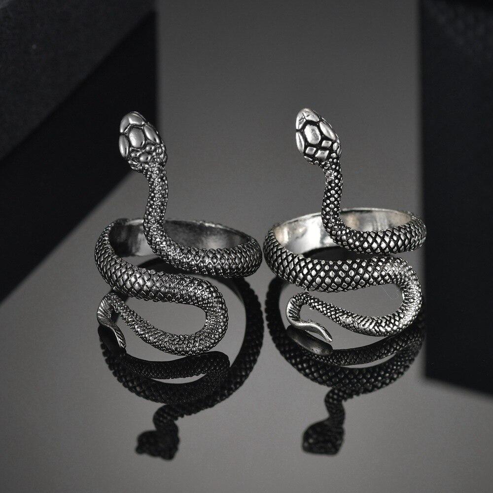 MeMolissa Punk Animal Ring Gothic Black Silver Metal Snake Rings For Women Men Night Club Unisex Adjustable Anillos Jewelry 1