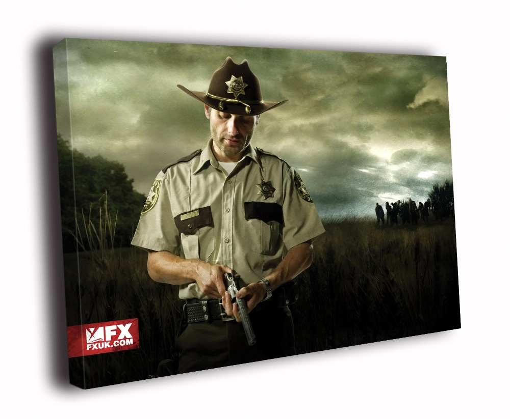 HD Canvas Printings Painting-The Walking Dead Andrew Lin-coln Revolver Rick Grimes Art D5985