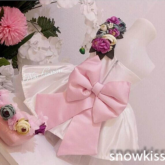 New Elegant One-Shoulder flower girl dresses with Blush Pink Bow toddler girl pageant dress baby Birthday Party Dress ball gowns