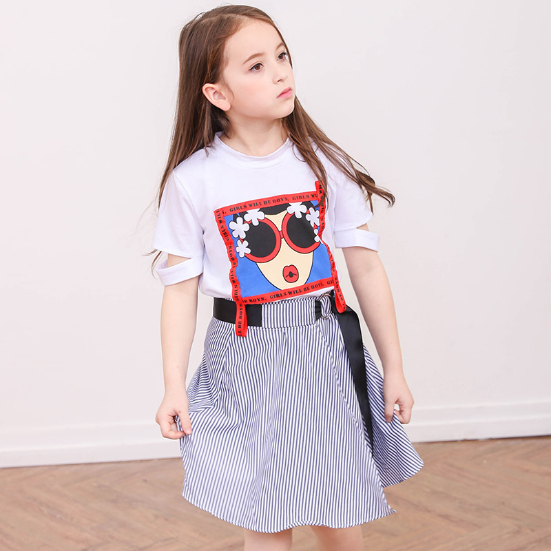 2018 New Arrival Summer Girls Clothing Sets Cartoon White Tee Shirt and Striped Skirt Set for Teenager Girls Clothing Suits все цены