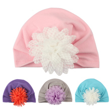 Yundfly New Flower Baby Girl Hat Newborn Photography Props Turban Girls Cotton Infant Beanie Cap Kids Hair Accessories