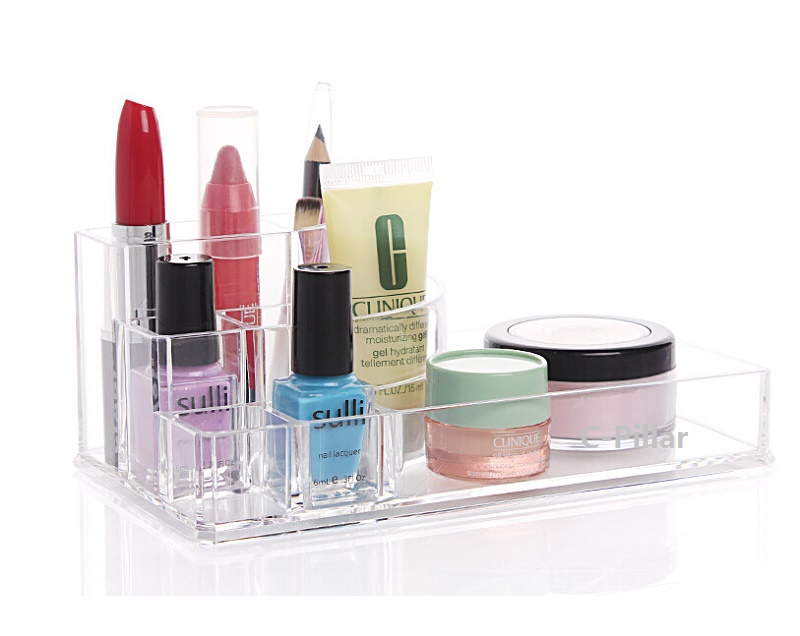 New Arrival Desktop Storage Box Acrylic Makeup Comestic Case Lipstick Holder Bathroom Storage Rack Free Shipping