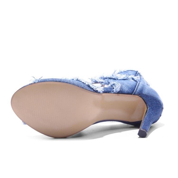 Mujer 43 Zapatos Verano {zorssar} Gladiador Alto Moda Fino Toe Marcas Gran Azul Sandalias 2018 Tamaño Denim De Peep Tacón Tw7vFT