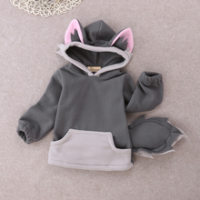 Toddler Kids Boy Girl Autumn Clothes Polar Fleece Long Sleeve Animal Fox 3D Ears Hooded Hoody Coat Jacket Tops