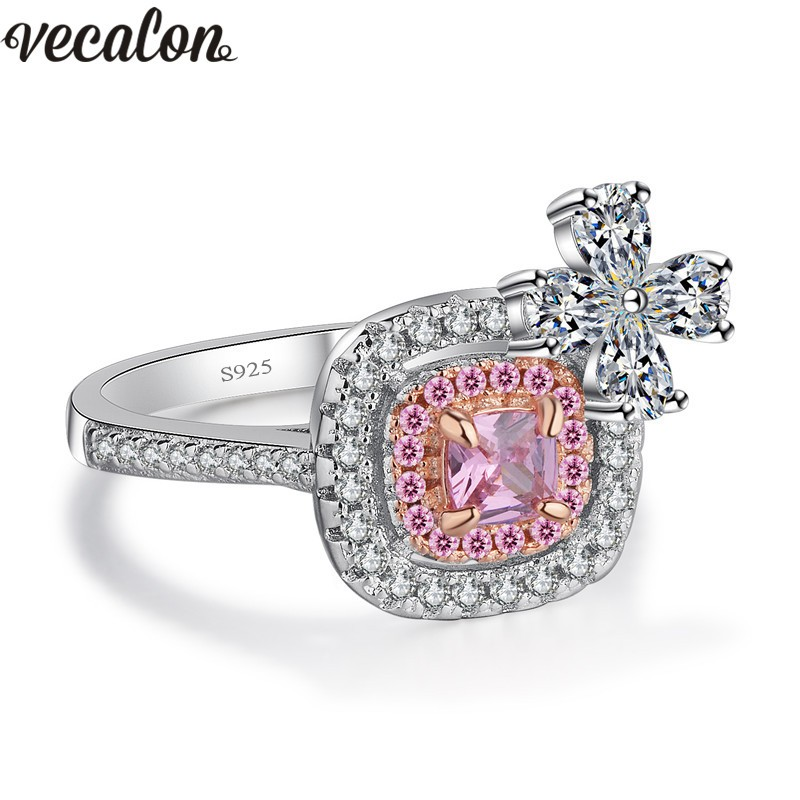 Vecalon New Luxury Anniversary ring 925 Sterling Silver Jewelry Pink 5A Zircon Cz Engagement wedding Band rings for women Bridal vecalon heart shape jewelry 925 sterling silver ring 5a zircon cz diamont engagement wedding band rings for women bridal gift