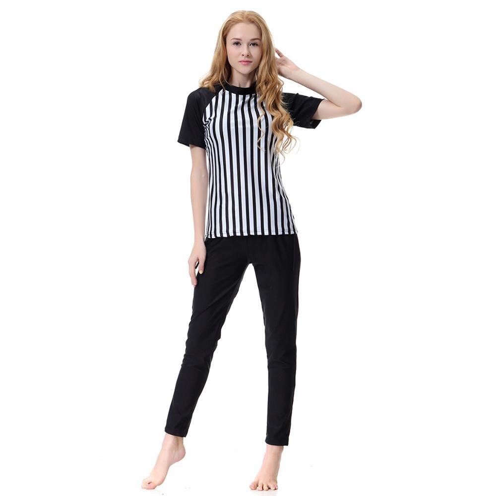 2019 Short sleeve modest swimwear for women two pieces camisa surf shirt+pants conservative ladies swimsuit plus size XXXL