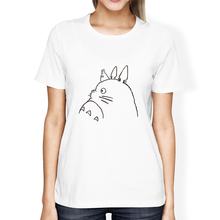 Hayao Miyazaki Anime Cartoon Cute Totoro Printed Girls Modal White T-shirts Round Neck Short Sleeve T Shirts Top Tee