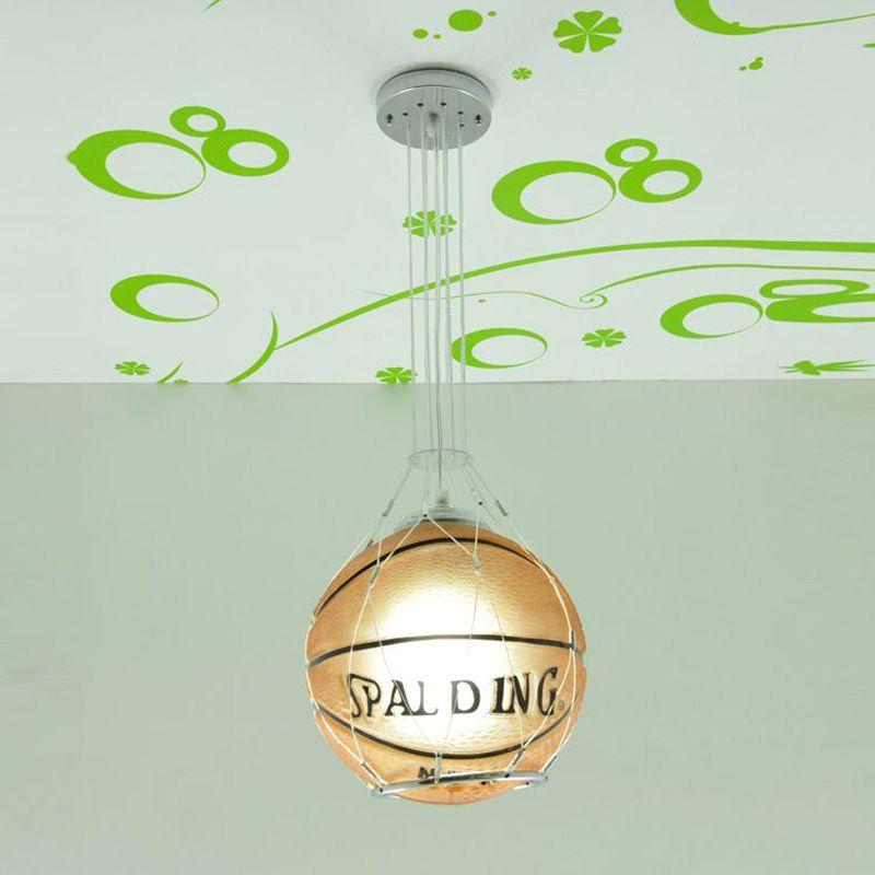 Football moderne basket enfants chambre pendentif lumières créatif dessin animé enfant chambre lampe garçons chambre pendentif lumière - 5