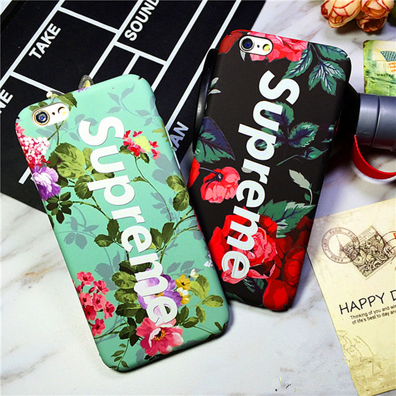Fashion Luminous Rose suprem phone case cover For Coque iPhone 6 6plus 6s 7 7plus hard cases Luxury Matte back Cover Fundas Capa